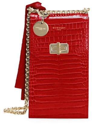 Givenchy Catena Snakeskin-Embossed Leather Crossbody Phone Case