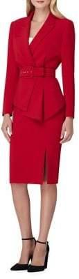 Tahari Belted Asymmetrical Skirt Suit