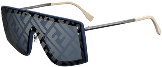 Fendi Men's Mirrored FF-Monogram Shield Sunglasses