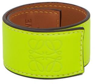 Loewe Paula's Ibiza - Anagram Leather Slap Bracelet - Yellow