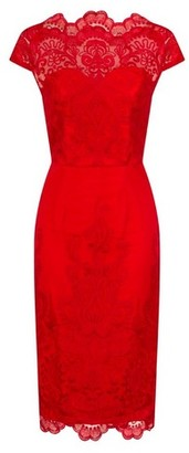 Dorothy Perkins Womens Chi Chi London Red Embroidered Pencil Dress, Red