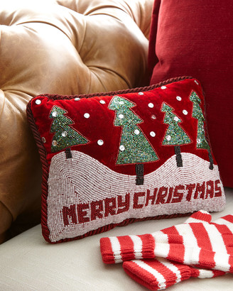 Sudha Pennathur Merry Christmas with Trees & Snowy Hills Pillow