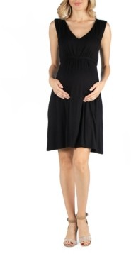 24seven Comfort Apparel Sleeveless V Neck Empire Waist Maternity Cocktail Dress