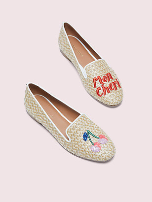 Kate Spade Lounge Cherries Raffia Loafers