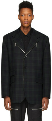 we11done Green and Navy Wool Zipper Blazer