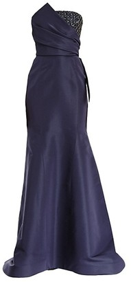 Carolina Herrera Embellished Patch Strapless Silk Mermaid Gown