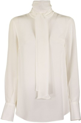 Brunello Cucinelli Silk Shirt With Bow And High Collar