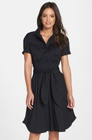 Cynthia Steffe Women's 'Maya' Belted Poplin Fit & Flare Shirtdress