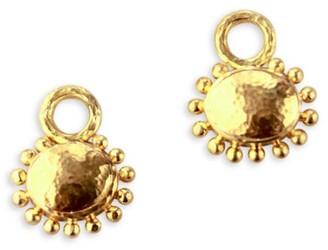 Elizabeth Locke 19K Yellow Gold Granulated Oval Pendant Earrings