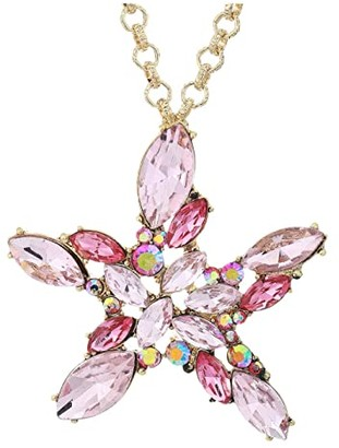 Betsey Johnson Starfish Pendant Necklace (Pink) Necklace