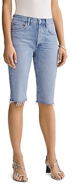 AGOLDE Carrie Cotton Frayed Denim Bermuda Shorts in Forfeit