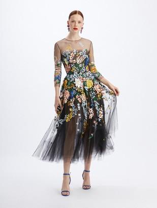 Oscar de la Renta Bouquet Tulle Cocktail Length Dress