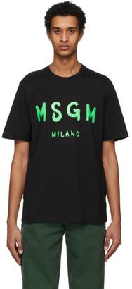 MSGM Black Paint Brushed Logo T-Shirt