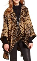 Fraas Faux-Leather-Trimmed Leopard-Print Ruana