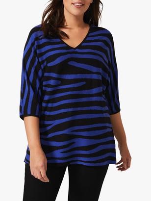 Studio 8 Harper Zebra Print Knit Top, Cobalt/Black