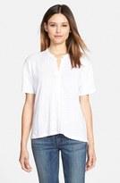 Eileen Fisher Women's Mandarin Collar Organic Linen Knit Shirt