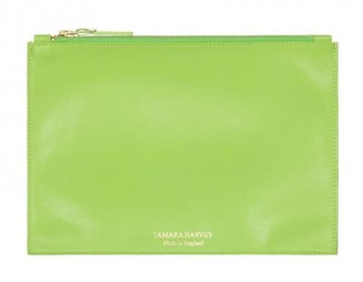 Tamara Harvey Lime Leather Zip Pouch