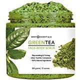 Body Essentials Green Tea Scrub - Antioxidant Rich - Anti Aging - Younger and Healthier Skin - Dead Sea Salt - Essential Oils - Vitamin E - 100% Natural Ingredients - Paraben/Sulfate Free