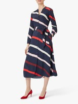 Hobbs Ginnie Striped Midi Dress, Navy/Multi