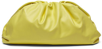 Bottega Veneta Leather Pouch Clutch in Kiwi & Gold | FWRD