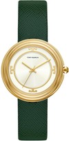 Tory Burch BAILEY WATCH, GREEN LEATHER/GOLD TONE/IVORY, 34 MM
