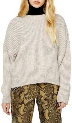 Topshop Half-Cardigan Crew Neck Sweater