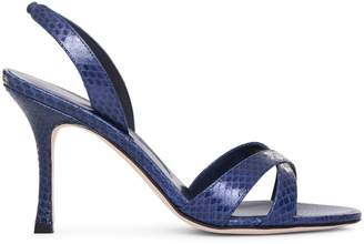 Manolo Blahnik Callasli navy watersnake sandals
