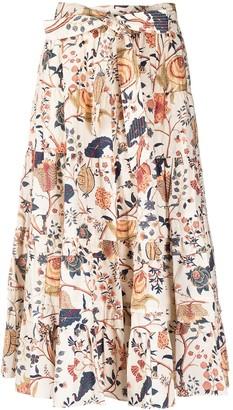 Ulla Johnson Tiered Floral-Print Midi Skirt