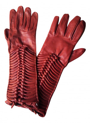 Sportmax Red Leather Gloves