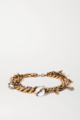 Alexander McQueen Crystal-embellished Gold-tone And Faux Pearl Charm Bracelet - one size
