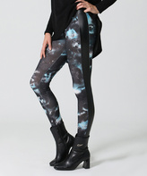 Black & Blue Galaxy Faux Leather-Contrast Leggings
