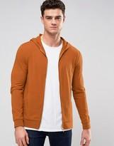 Asos Muscle Zip Up Hoodie In Burnt Orange