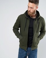 The North Face Zip Up Hoodie With TNF Logo In Green