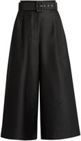 Isa Arfen Safari cotton and silk-blend wide-leg trousers