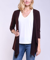 Lbisse Women's Open Cardigans Brown - Brown Drape-Front Three-Quarter Sleeve Cardigan - Women