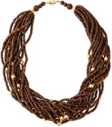 Kenneth Jay Lane Multi-Strand Wooden Beaded Necklace