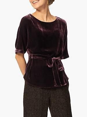 Brora Velvet Kimono Blouse, Plum