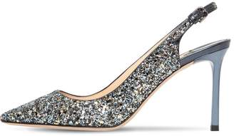 Jimmy Choo 85MM ERIN GLITTERED LEATHER SLING BACKS