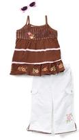 Children's Apparel Network Brown Tank & White Pants Set - Toddler