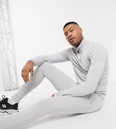 Asos Design DESIGN Tall muscle tracksuit with half zip sweatshirt in light gray