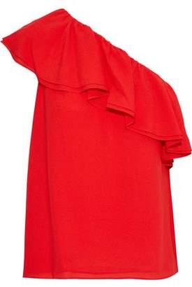Rebecca Taylor One-shoulder Ruffled Silk-crepe Top