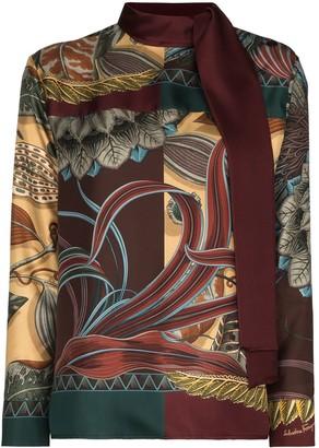 Salvatore Ferragamo Leaf-Print Tie-Neck Blouse