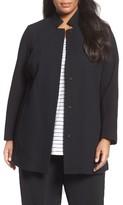Eileen Fisher Plus Size Women's Grid Stretch Cotton & Tencel Blend Jacket