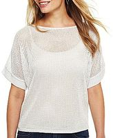 JCPenney a.n.a® Open-Stitch Metallic Sweater - Petite