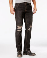 INC International Concepts Men's Slim-Fit Ripped Black Wash Jeans, Only at Macy's