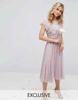 Maya Midi Dress With Lace Embellishment And Circle Skirt In Chiffon