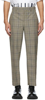 Neil Barrett Beige and Black Check Suiting Trousers