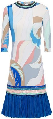 Emilio Pucci Faux Raffia-trimmed Embellished Printed Jersey Mini Dress