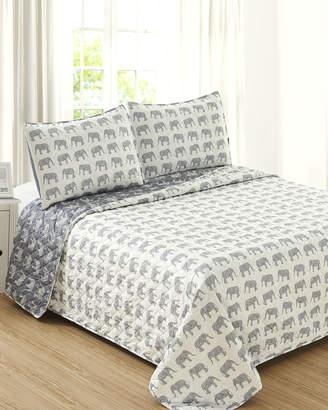 Melange Home Grey Elephant Quilt Set