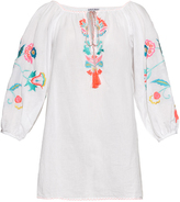 Juliet Dunn Hand-embroidered self-tie neck cotton kaftan